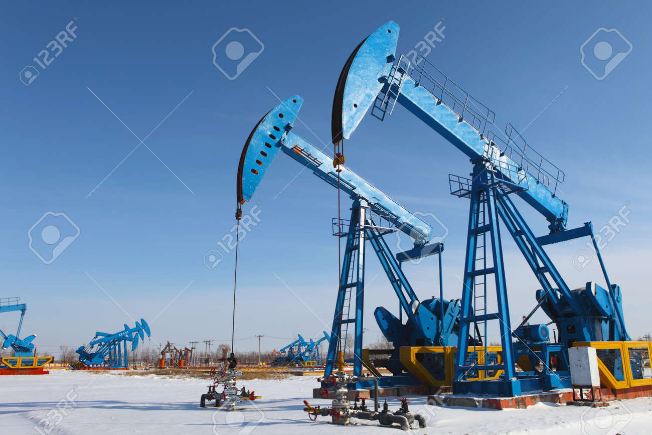 Oil pumps  Oil industry equipment Stock Photo - 17140475