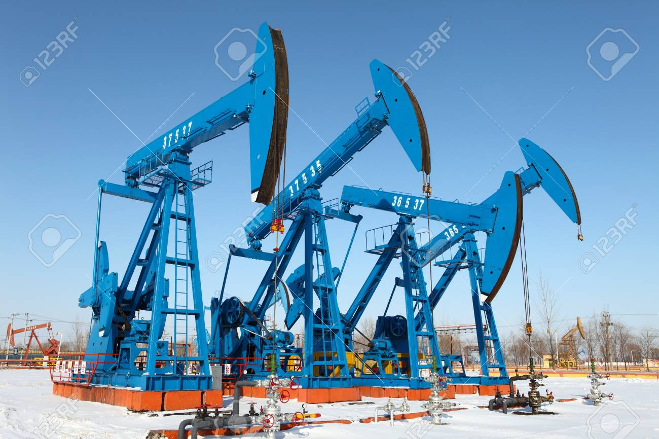 Oil pumps  Oil industry equipment Stock Photo - 17140540