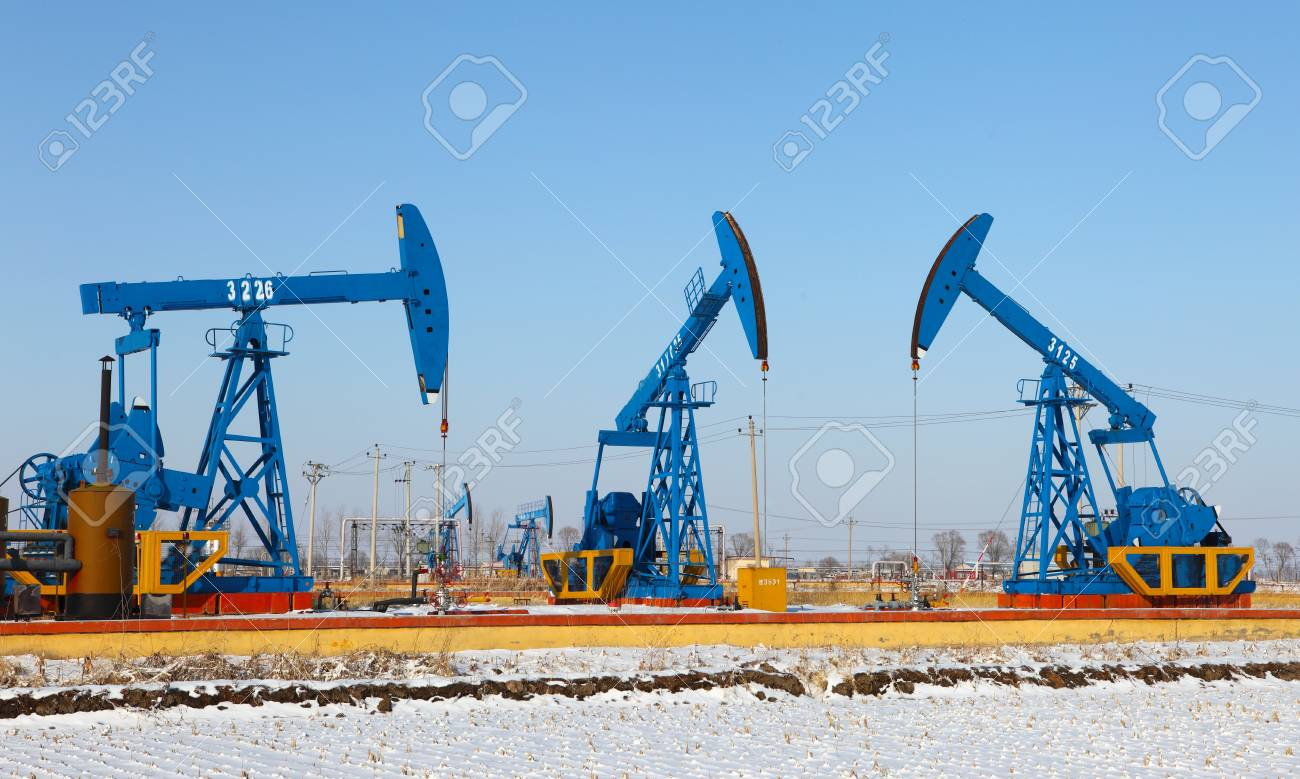 Oil pumps  Oil industry equipment Stock Photo - 17140471