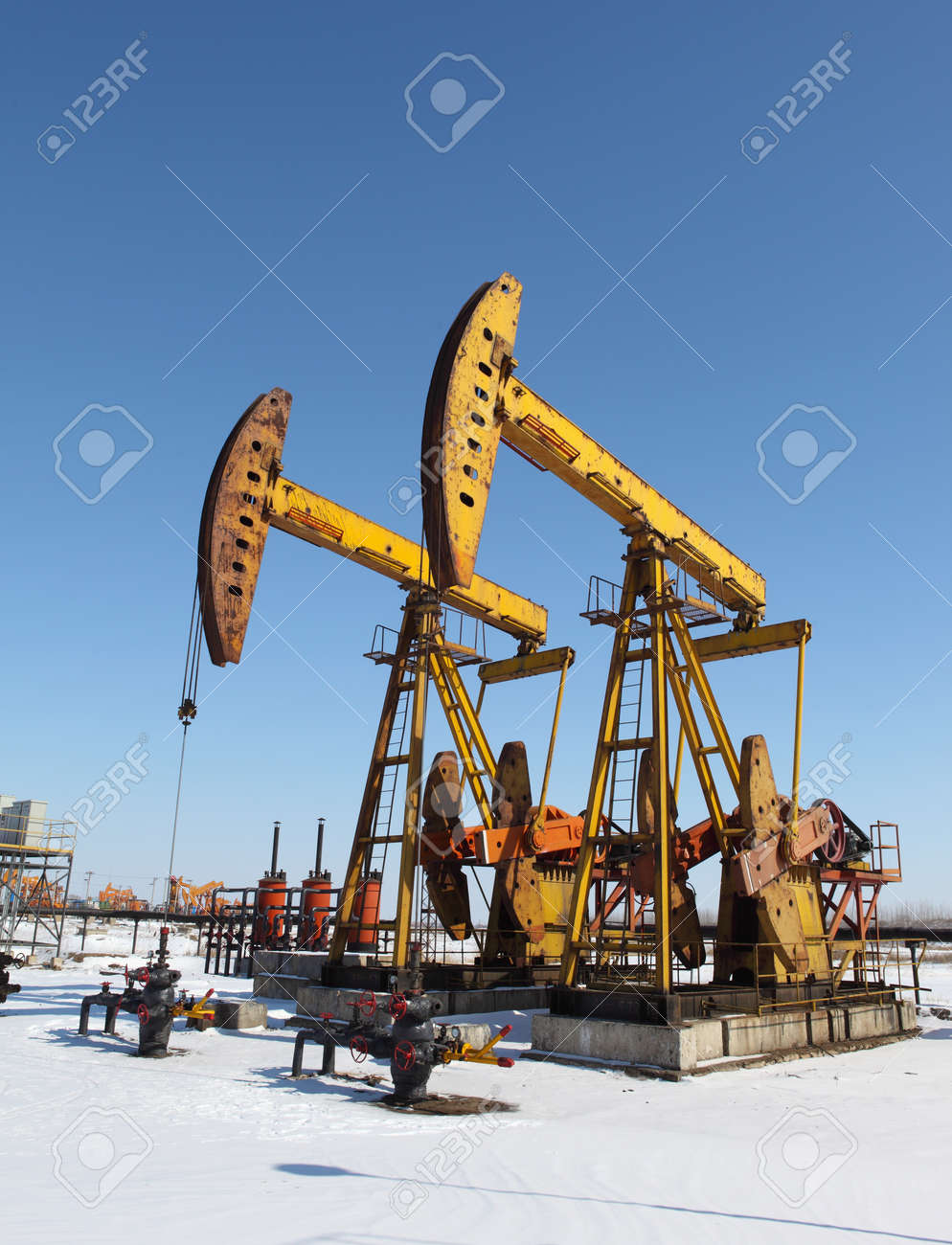 Oil pumps  Oil industry equipment Stock Photo - 17140440