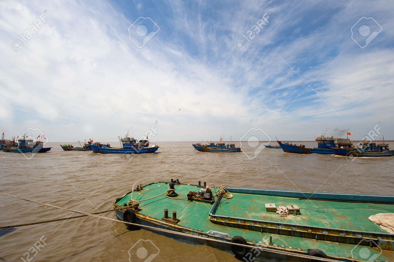commercial fishing boats at anchor in a harbor quayside Stock Photo - 17267170
