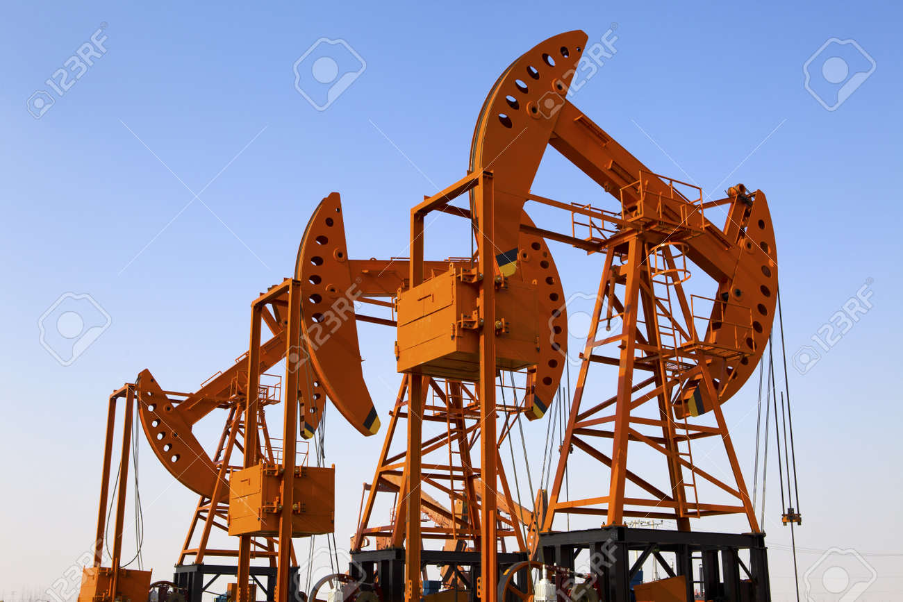 Oil pumps  Oil industry equipment Stock Photo - 18433590