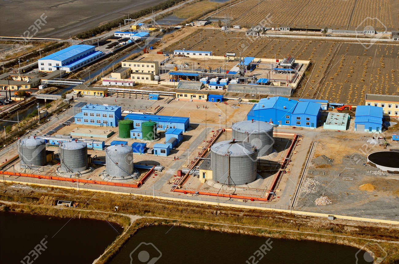aerial view of petrol industrial zone  Stock Photo - 18431736