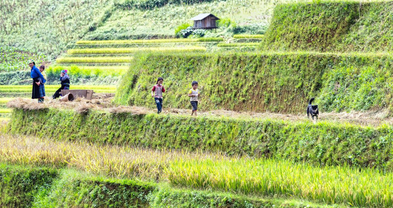 Yen Bai, Vietnam - September 25th, 2015: Scenes of family life