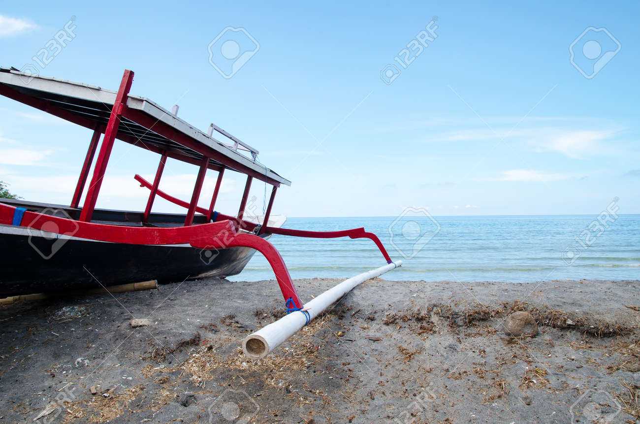 Traditional fishing boat trimaran in Bali, Indonesia  Stock image