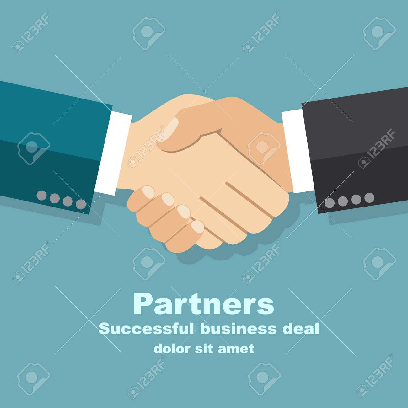Handshake Businessman Agreement. Vector Illustration Flat Style ...