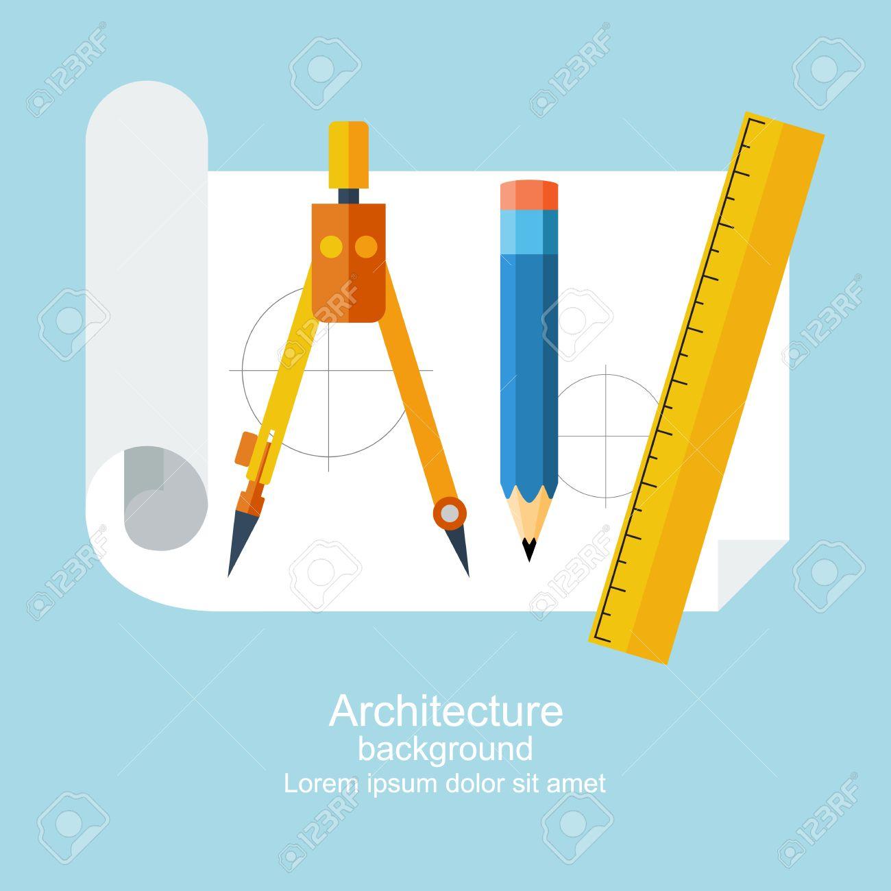 Zeichenwerkzeuge. Architektur, Design, Gebäude, Planung. Kann Für ...