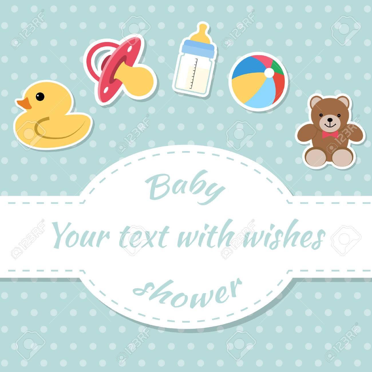 Babyparty Einladung Karte. Platz Für Text. Glückwunschkarten. Standard Bild  48683753