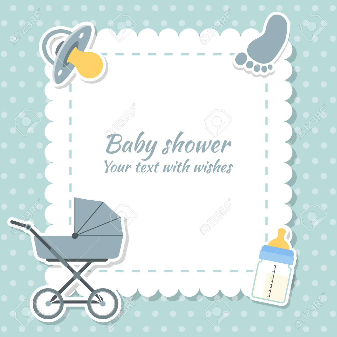 Baby shower boy invitation card place for text greeting cards baby shower boy invitation card place for text greeting cards stock vector kristyandbryce Image collections