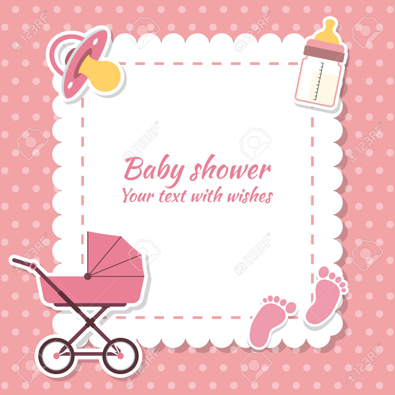 Baby Shower Girl, Invitation Card. Place For Text. Greeting ...