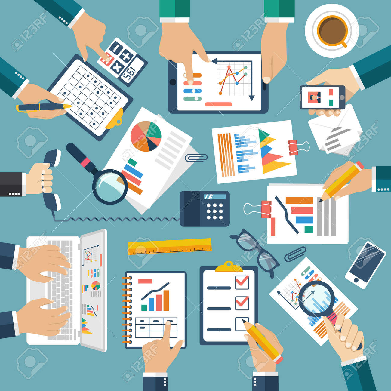 Meeting of business people for business planning, teamwork analyzing project, strategy, research, development, financial management, marketing research, statistic, solution. Brainstorming. Vector - 53173579