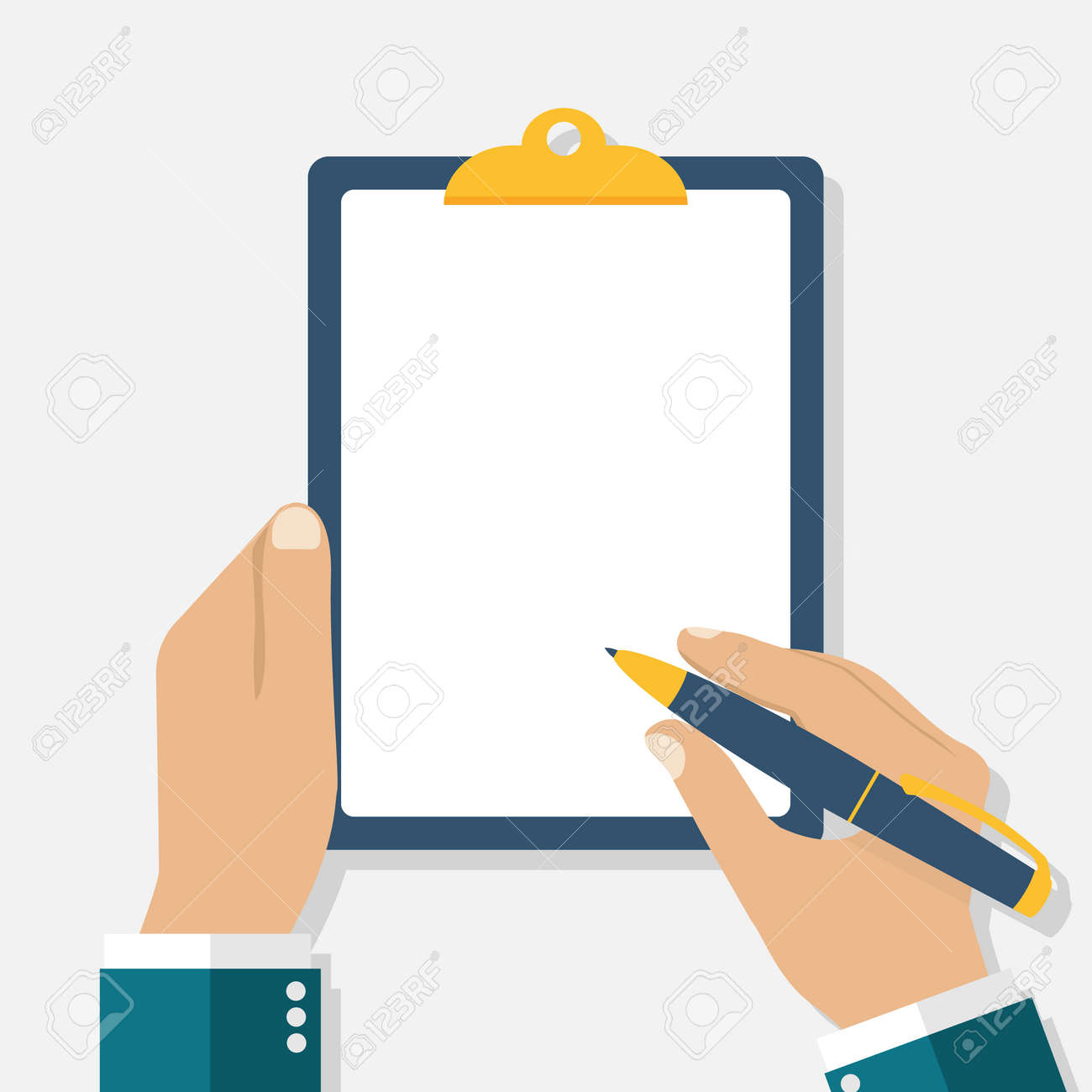Man holds a clipboard and writes. Empty blank. Pen in hand. A blank sheet of paper to write. Vector illustration, flat design. - 53173582