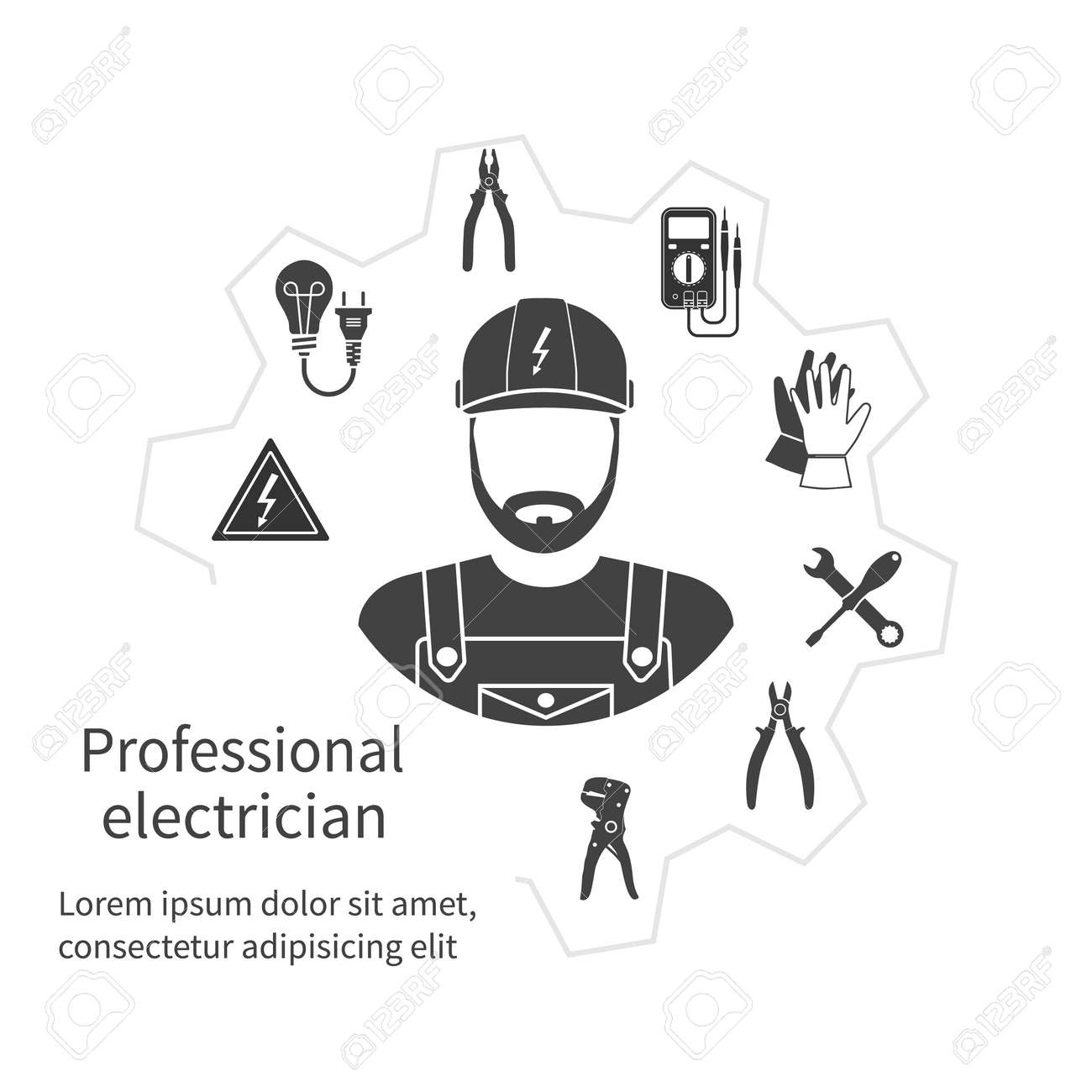 Concept of profession electrician. Repair and maintenance of electricity. Electricity service. Electricians tools, equipment. Banner, template, logo, background. Vector. Electrician occupation. - 53173674