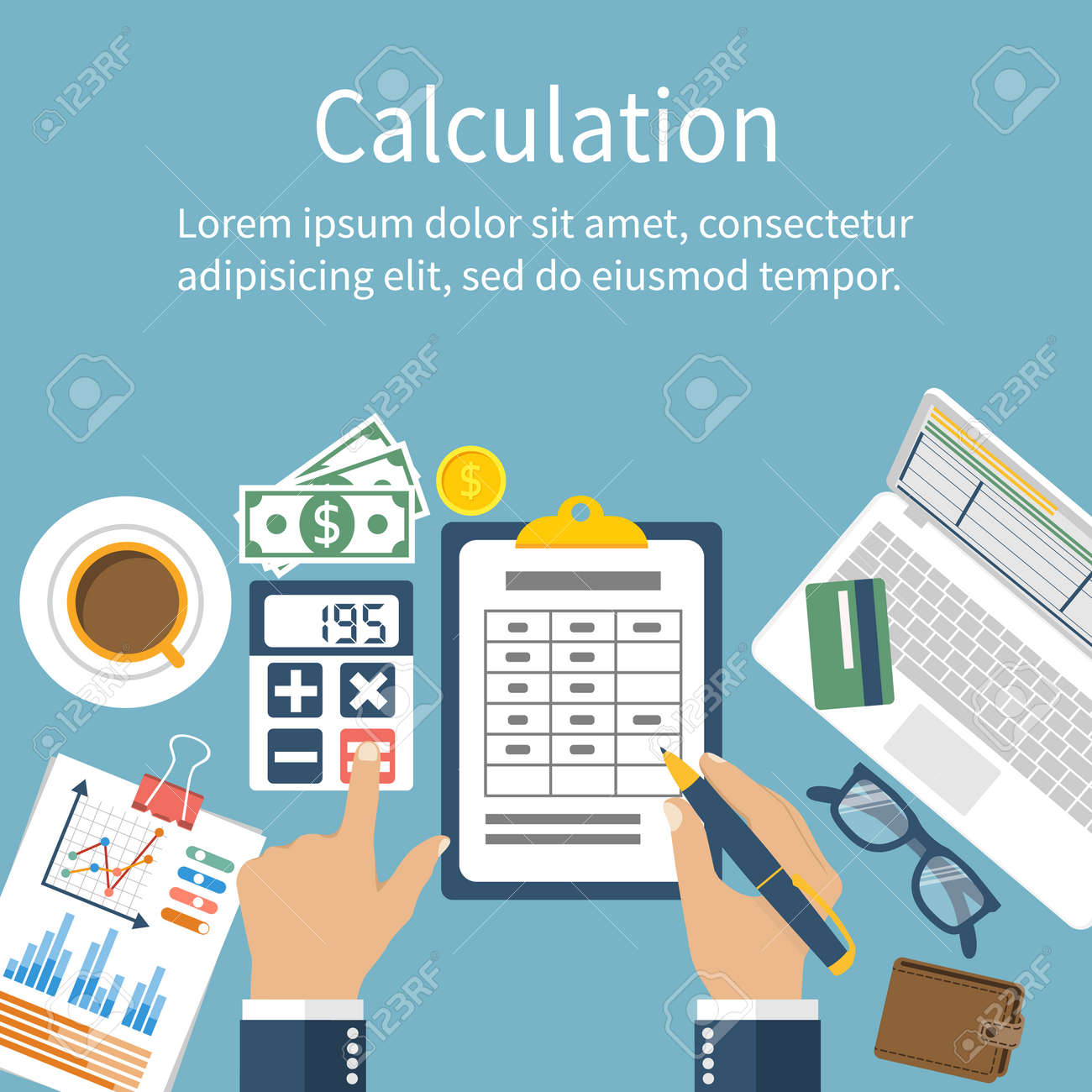 Calculation concept. Businessman, accountant . Flat design, Vector Illustration. Financial calculations, counting profit, income, taxes, statistics, data analytics, planning, report. - 54109311