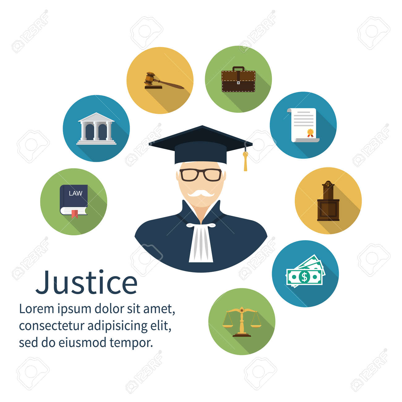 Judge Icon Icons Symbol Of Law And Justice Concept Law Trial Law