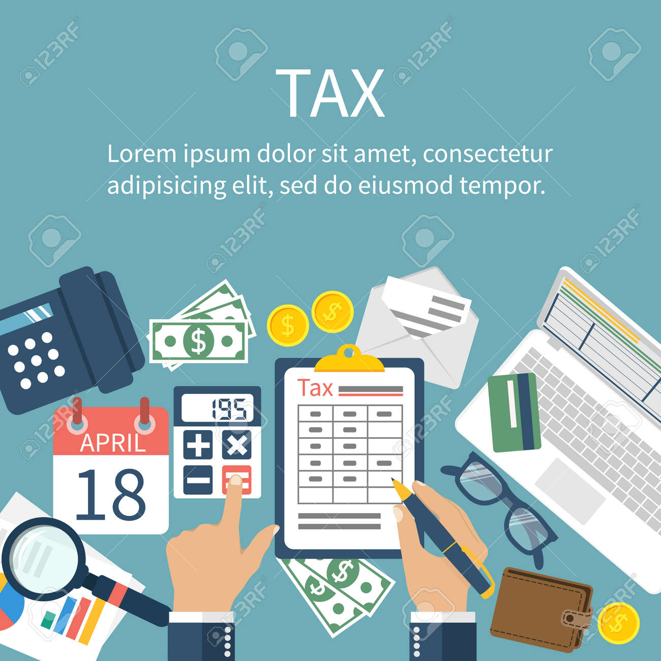 Tax payment. Government taxes. State taxes. Data analysis, paperwork, financial research, report. Businessman calculation tax. Calculation of tax return. Flat design. Tax form vector. Payment of debt. - 54109122