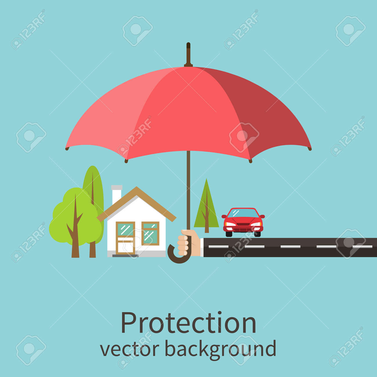 Concept of security of property, flat design. Agent holding umbrella over house. Insurance home, car, money. Vector illustration. - 54109902