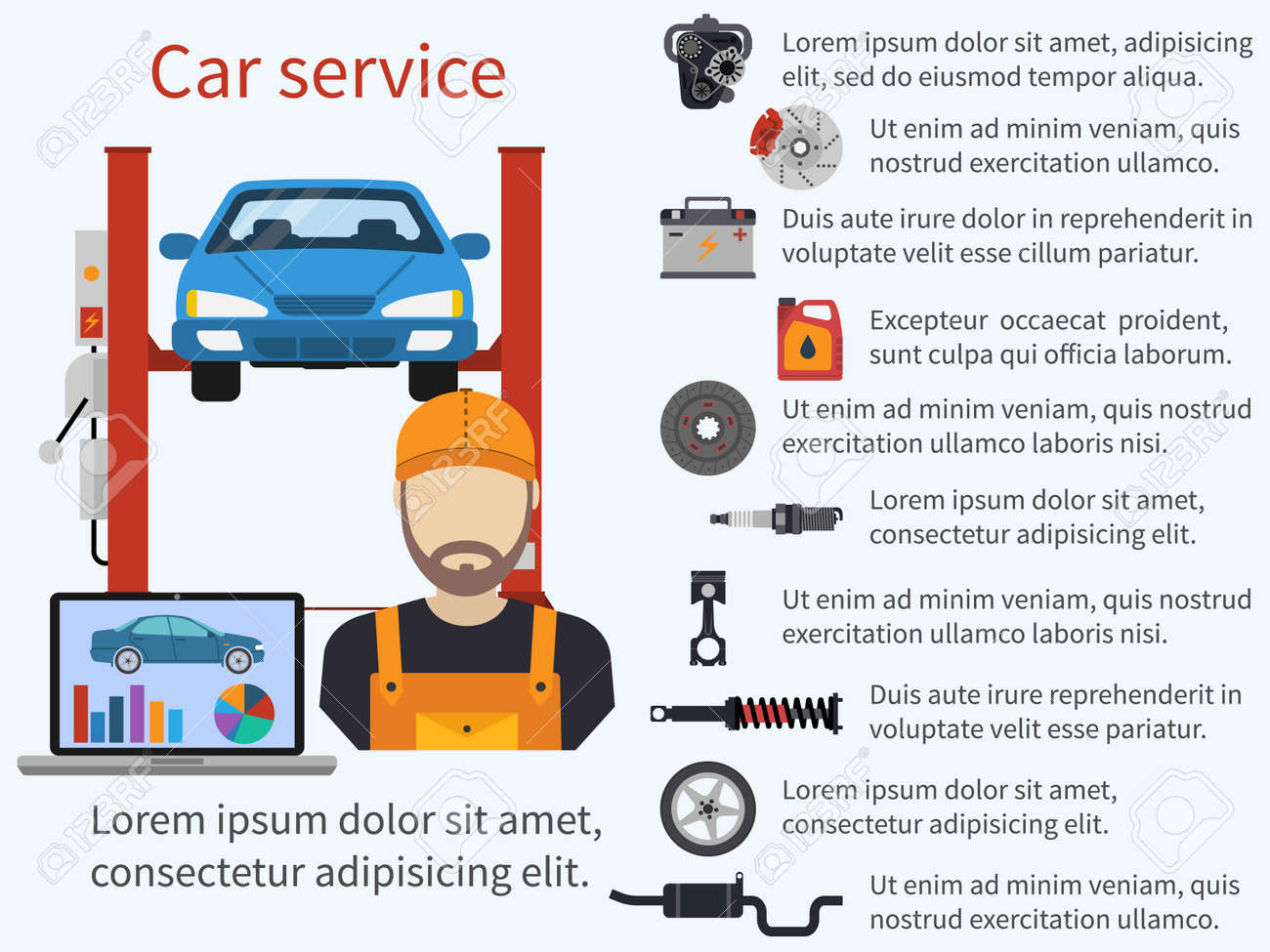 Car Service. Auto Service And Repair. Infographics Car Repair. Mechanic, Car  Lift  Car Description