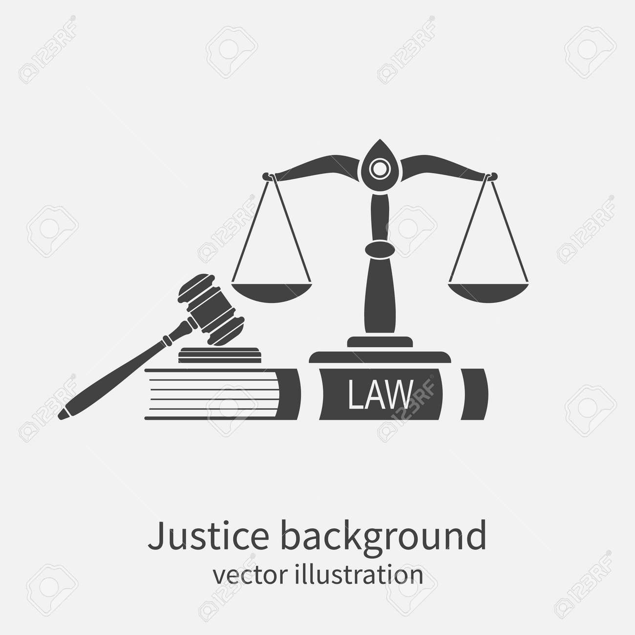 Symbol of law and justice. Concept law and justice. Scales of justice, gavel and book. Vector illustration. Can be used as logo legality. - 54110030