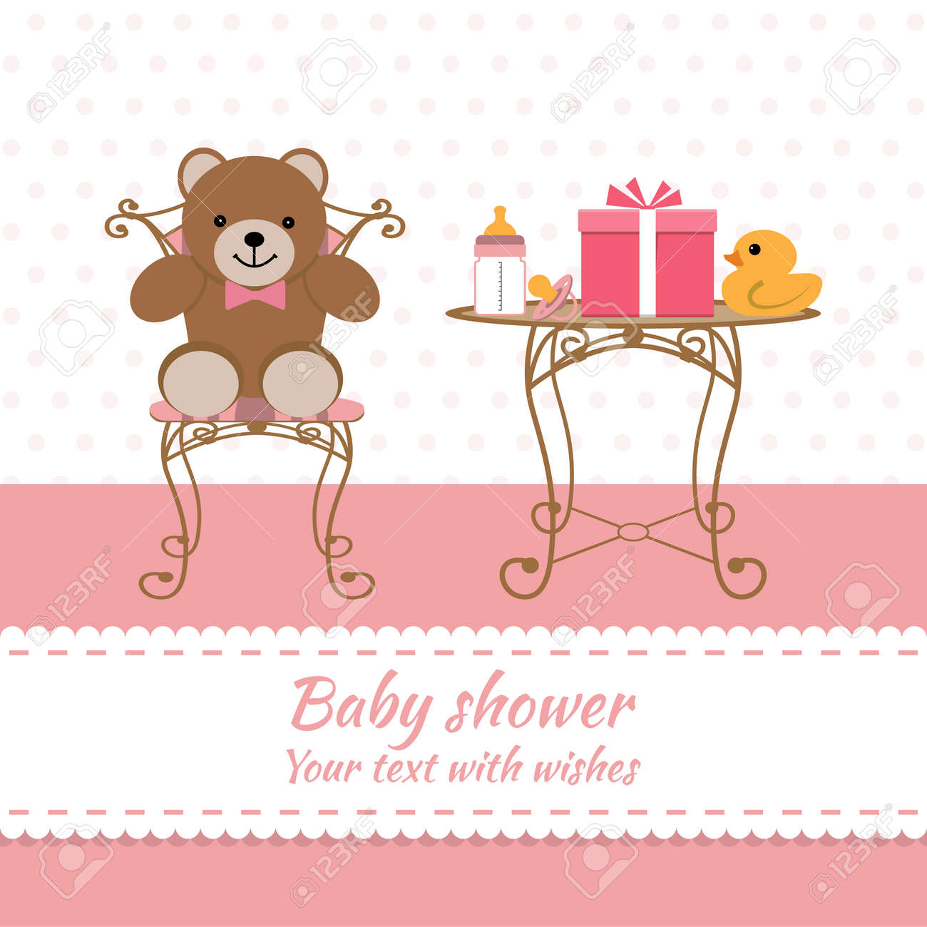 Baby girl greeting card baby shower royalty free cliparts vectors baby girl greeting card baby shower stock vector 54110039 m4hsunfo