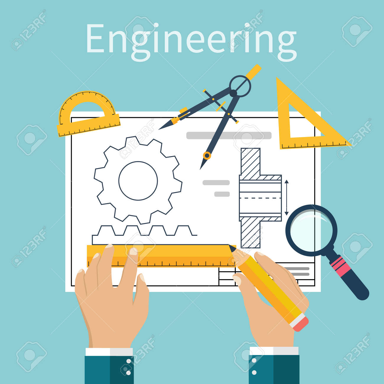 Engineer working on blueprint. Engineering drawing, technical scheme. Sketching gear, project. Engineer Designer in project. Drawings for production, engineering, manufacturing processes. Vector, flat - 54110314