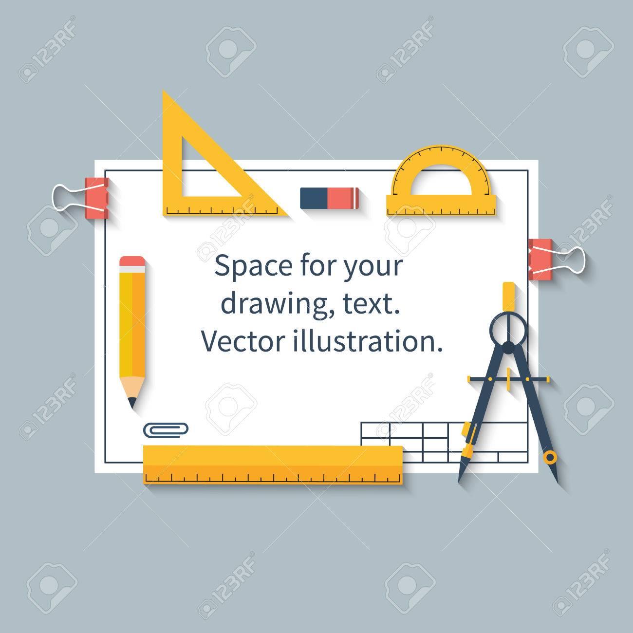 Zeichenwerkzeuge Auf Dem Papier Mit Platz Für Zeichnungen Und Text ...