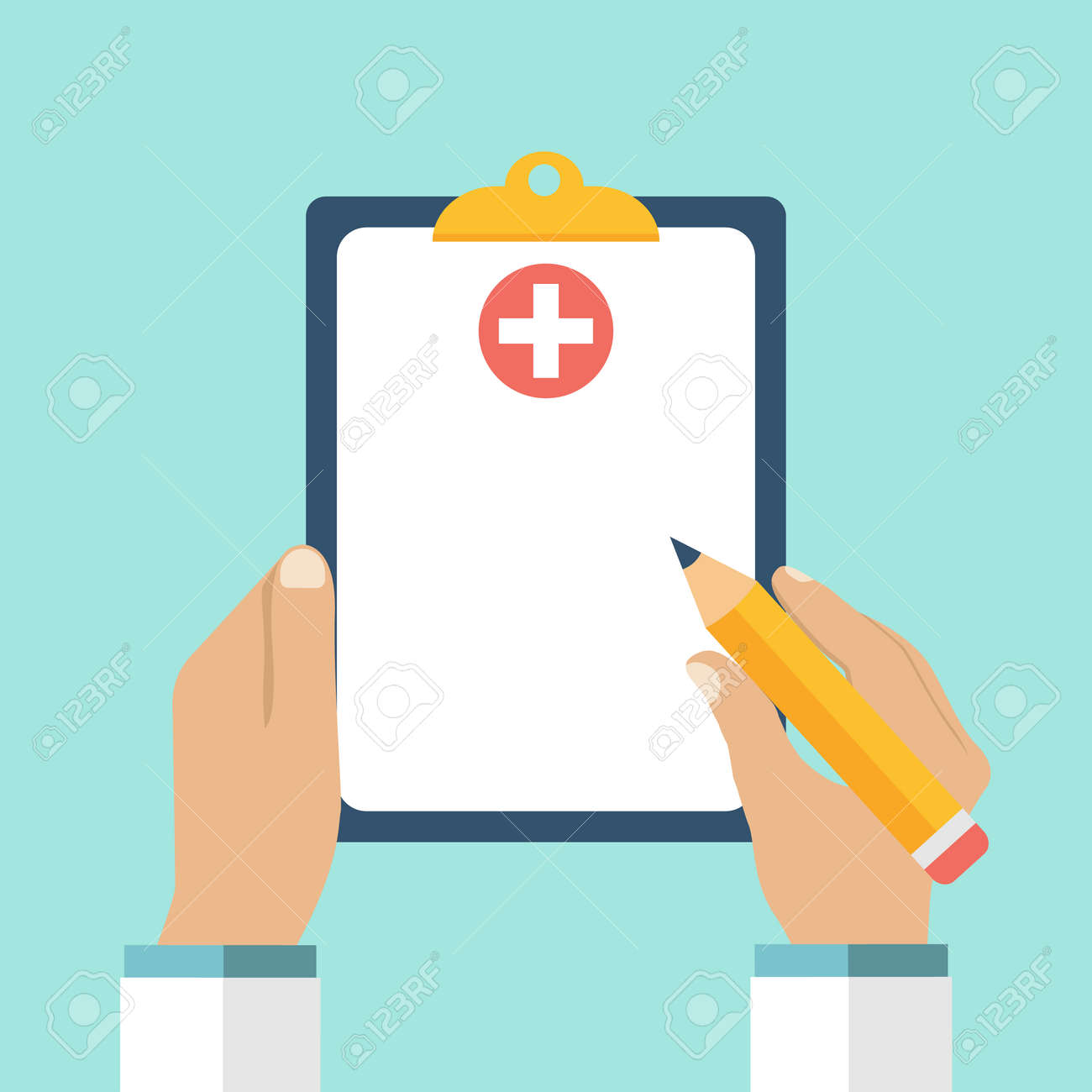 Clipboard in his hand doctor. Doctor takes notes in a Clipboard. Clipboard, hand, pen. Medical report, medical background. Vector, flat design. Patient care. Blank clipboard, template. - 54110324