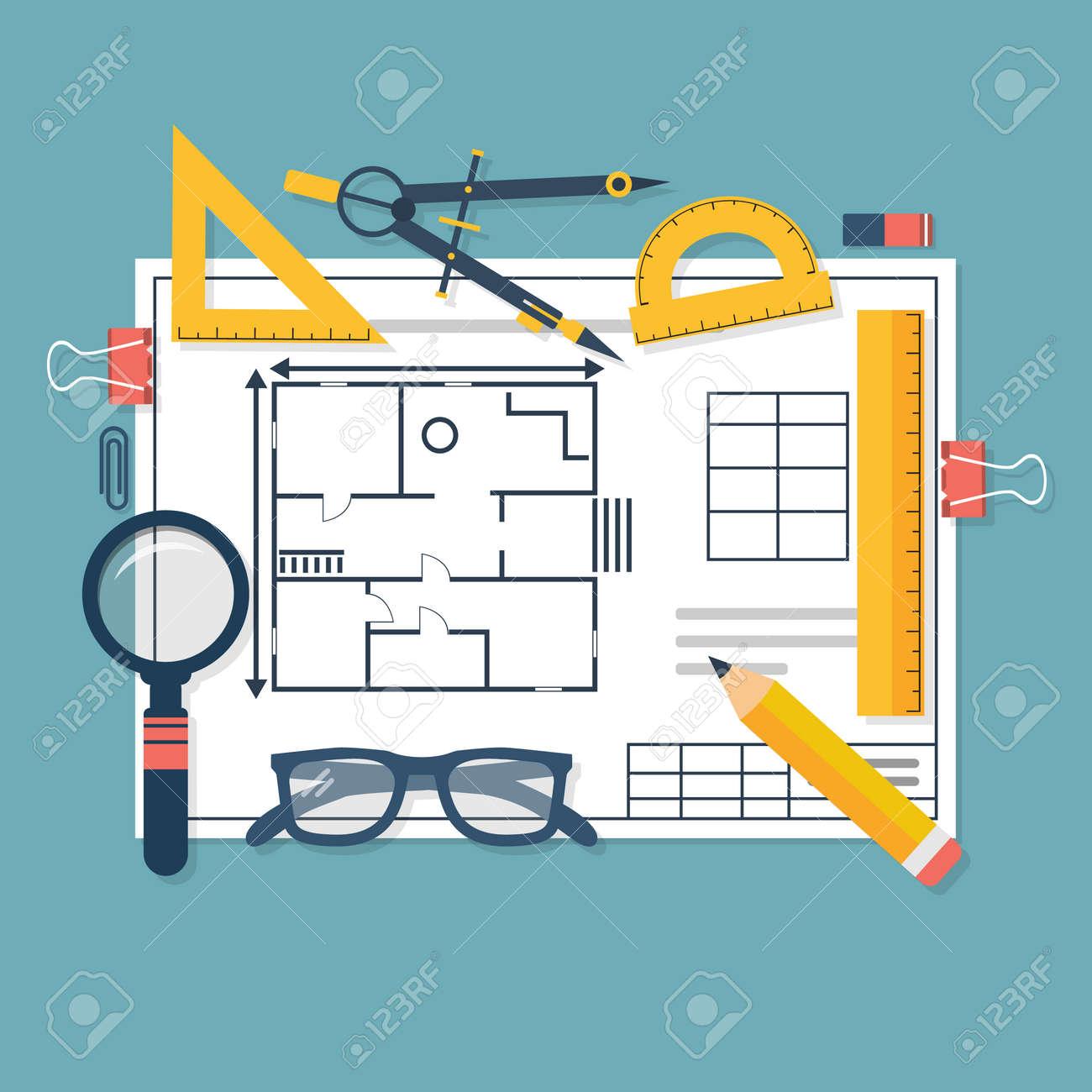 Architektonische Baupläne Und Zeichenwerkzeuge. Arbeitsplatz Des ...