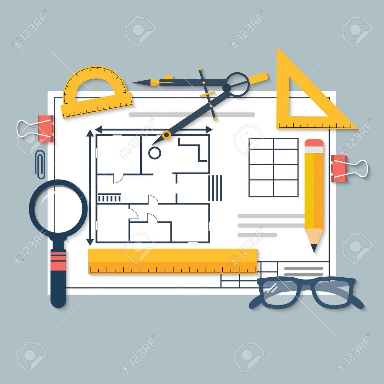 Architektonische Bauplane Und Zeichenwerkzeuge Arbeitsplatz Des Architekten Entwurf Plans Haus Zu Bauen