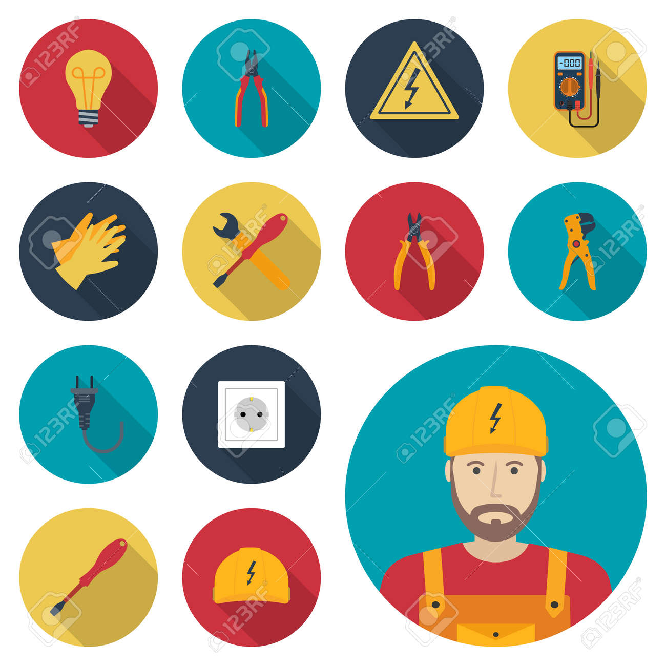 Electricity set icon flat. Icons electric tools, equipments and maintenance. Signs of work safety. Colored icons isolated with shadow. Avatar electrician. Vector illustration, flat design. - 54110734