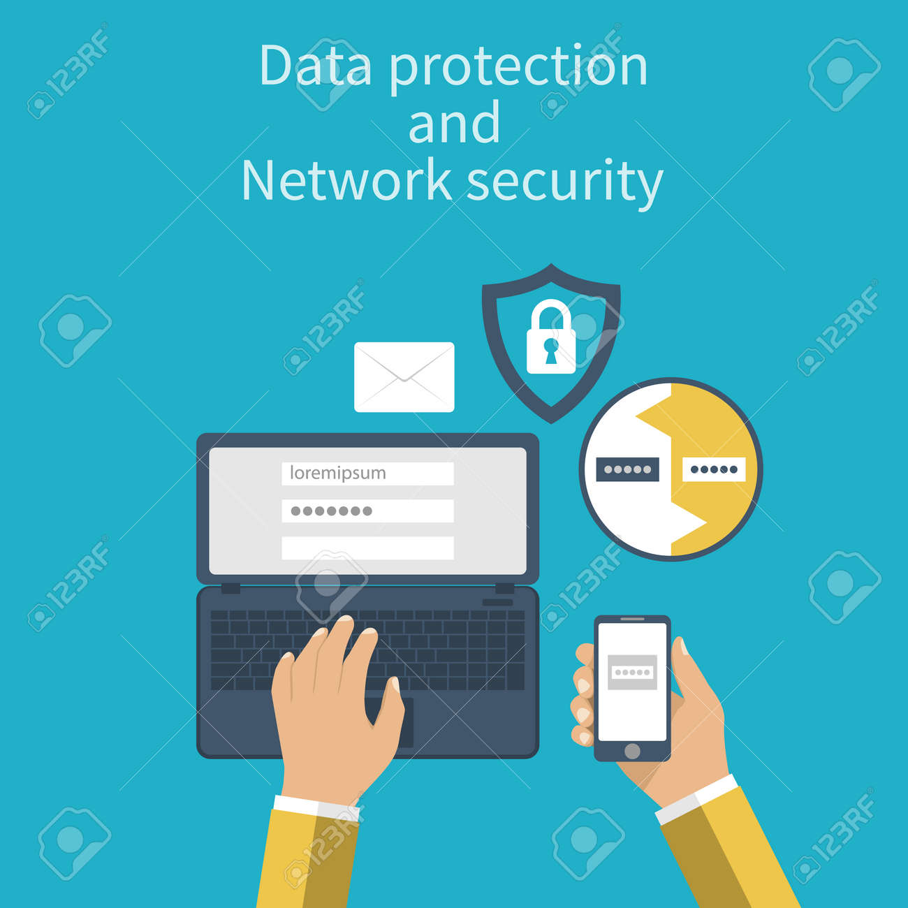 Data protection and Network security. Concepts web protection. Flat design. Laptop and smartphone connection for security reasons. Vector illustration. Authentication. - 54110737