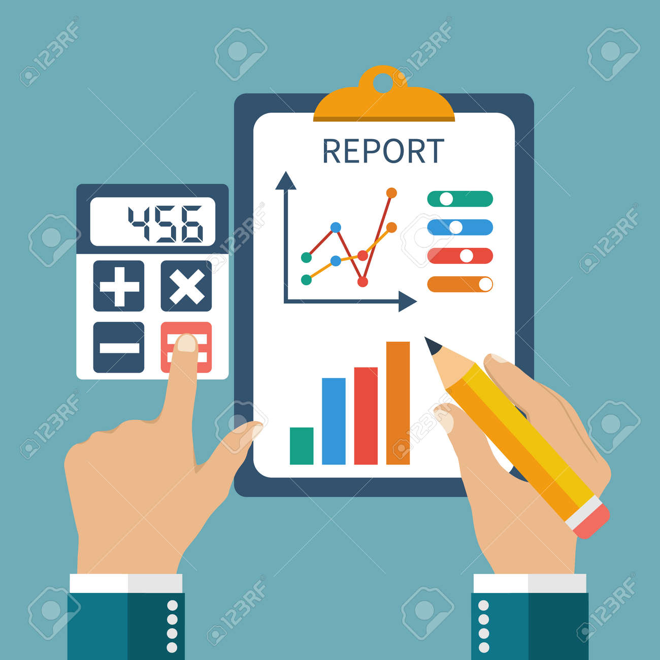 finance report concept flat style money income management
