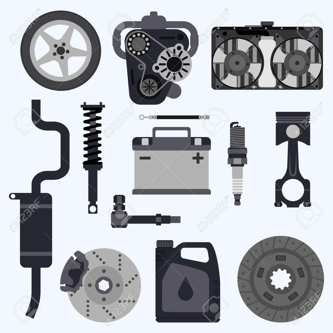 Set Autoteile. Automobil-Systeme. Set Teile Für Autoreparaturen ...