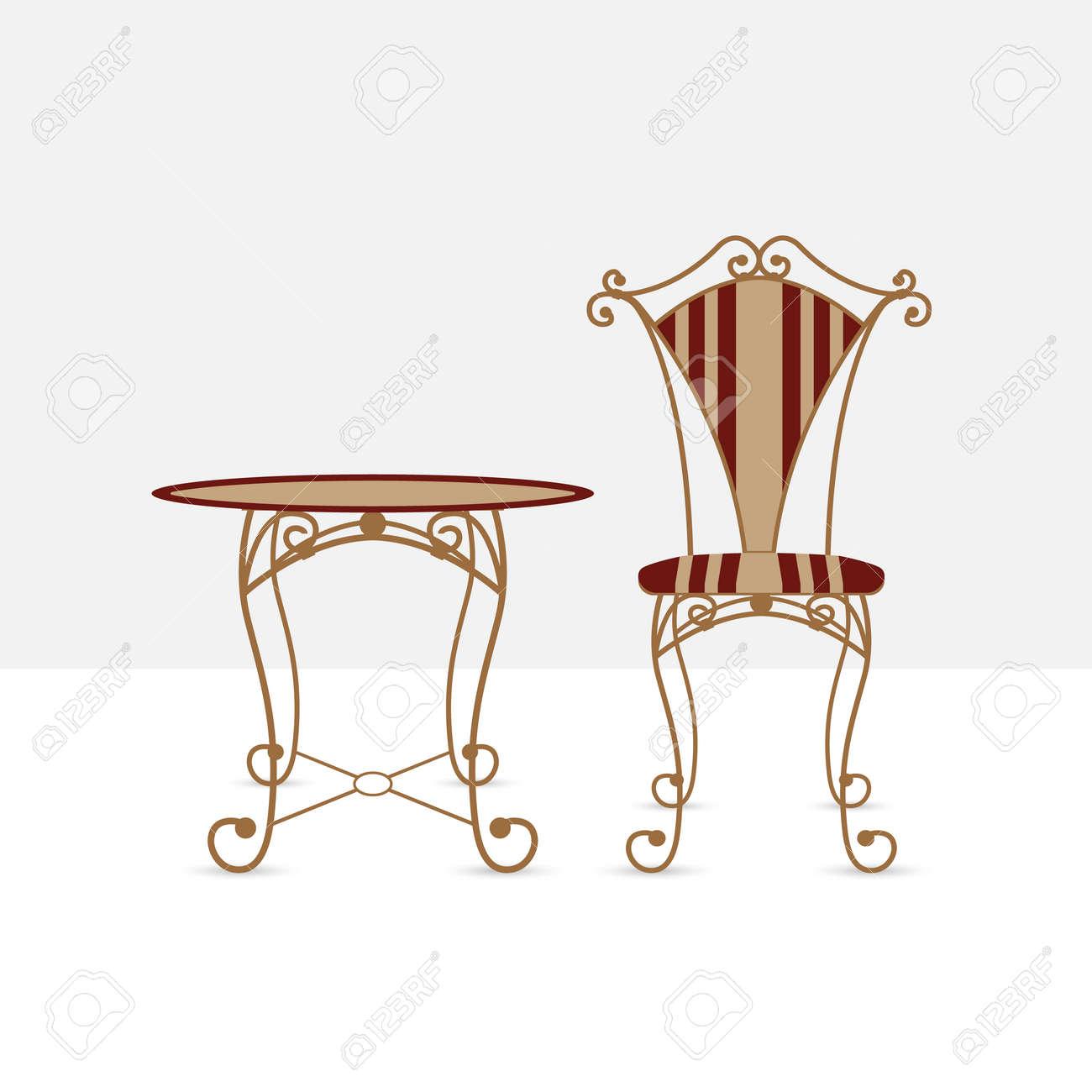 Tisch Und Stuhl. Geschmiedete Tisch Und Stuhl, Retro-Stil, Vektor ...