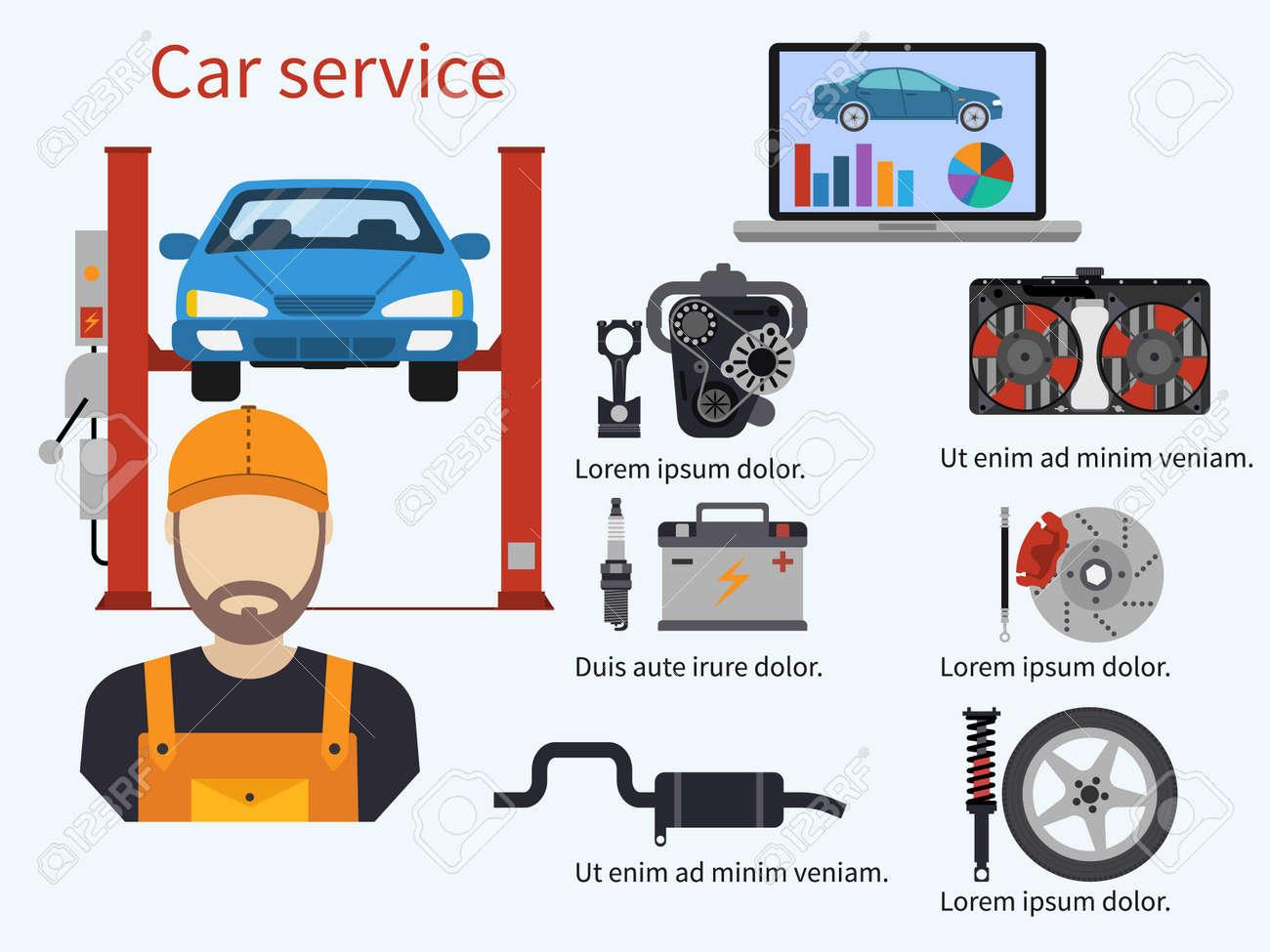 Car Service Mit Diagnoseelemente, Auto Und Mechaniker ...