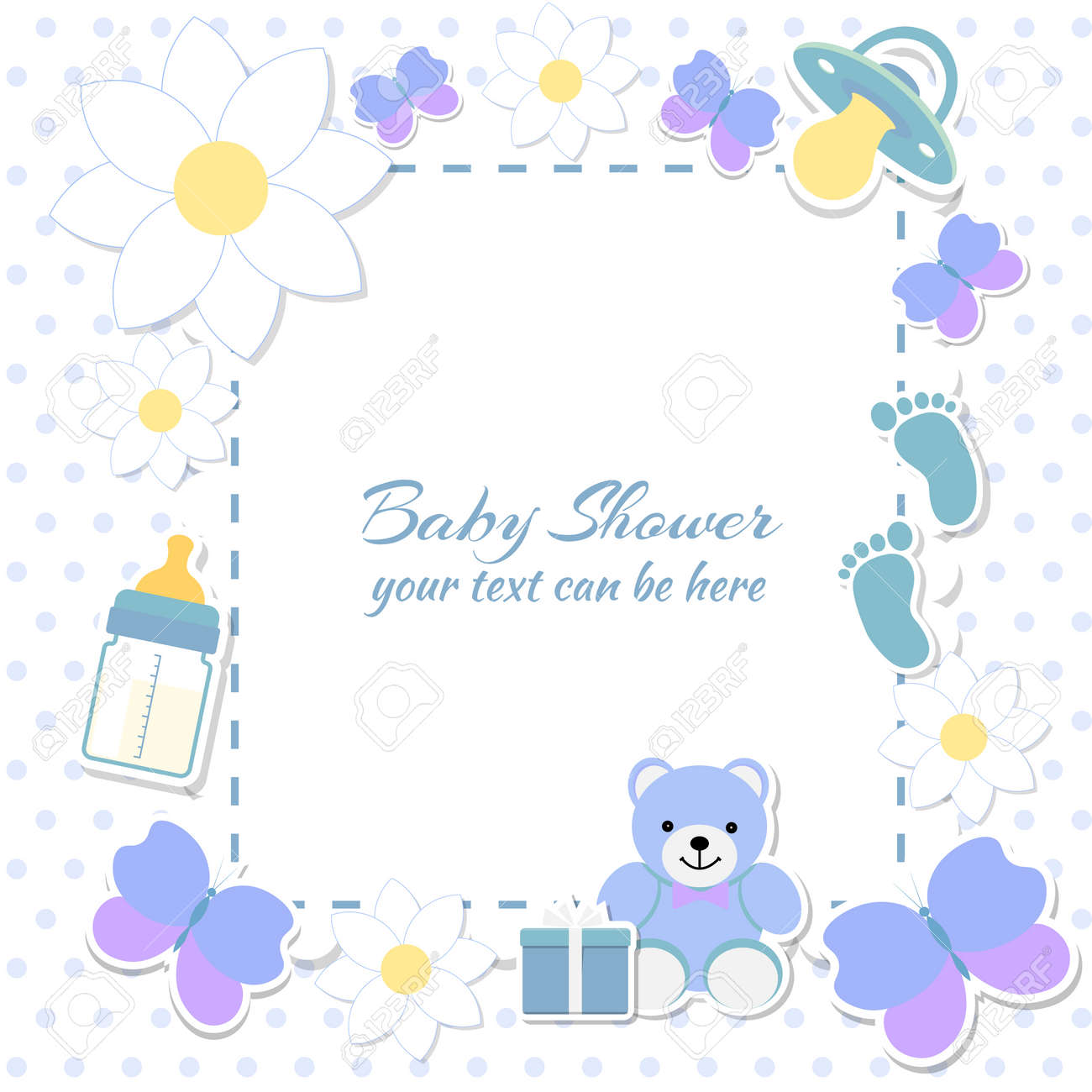 Baby shower boy invitation card place for text greeting cards baby shower boy invitation card place for text greeting cards vector illustration kristyandbryce Image collections
