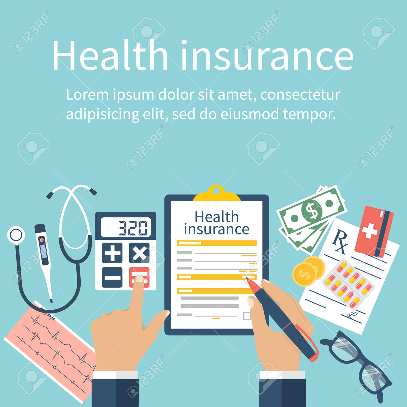 Man at the table fills in the form of health insurance. Healthcare concept. Vector illustration flat design style. Life planning. Claim form. Medical equipment, money, prescription medications. - 54767355