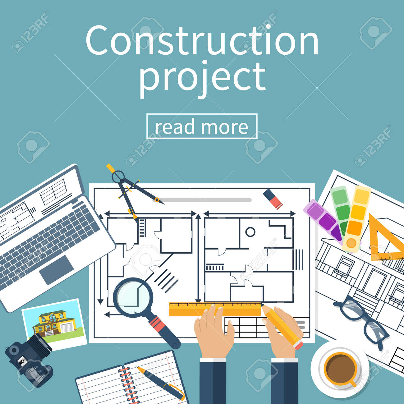 Architect Designer, Project Drawings. Architectural Project. Planning  Construction Of House. Vector,