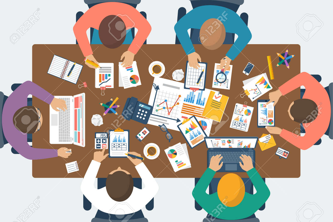 Project management concept. Business team work on projects. Brainstorming. Business meeting, planning strategy, analysis, marketing research, financial management. Flat design, vector. - 55812262