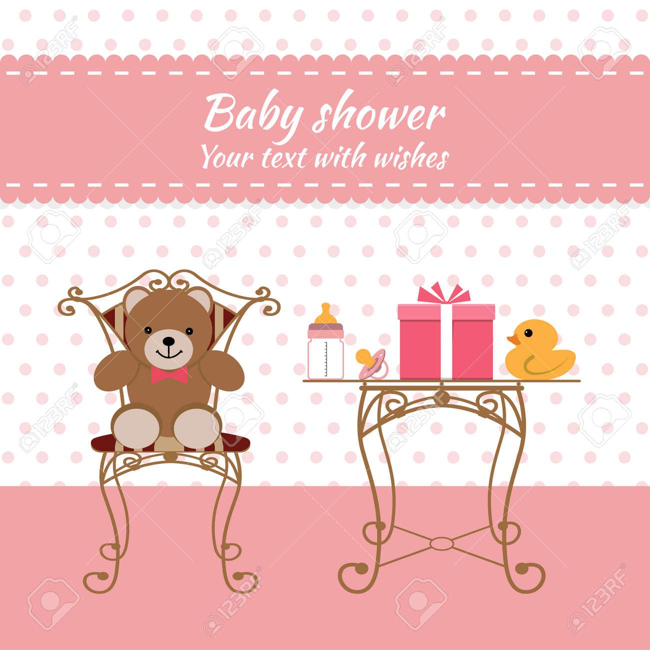 Baby Shower Girl Tarjeta De Invitación Lugar Para El Texto Tarjetas De Felicitación Ilustración Vectorial Oso De Peluche Con Una Caja De Regalo