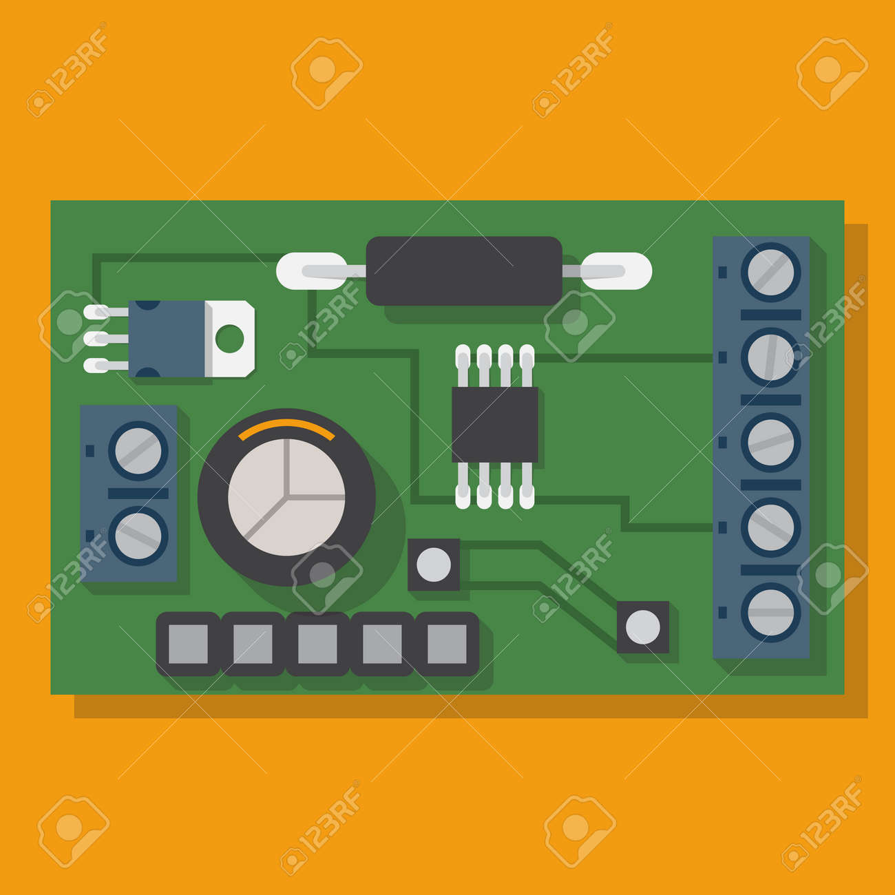 Electronic Board Motherboard Spare Computer Vector Illustration Circuit Design Program Free Flat Equipment