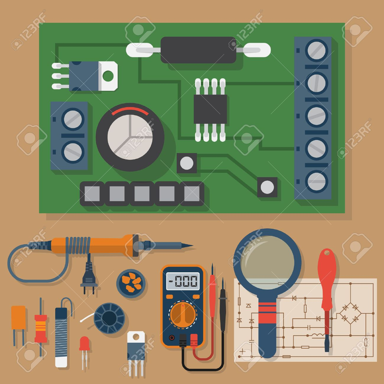 Set for soldering chips. Solder, repair of electronic equipment. Vector flat design style. Tools electrician. Motherboard. Soldering iron, board, multimeter, circuit. - 55796843