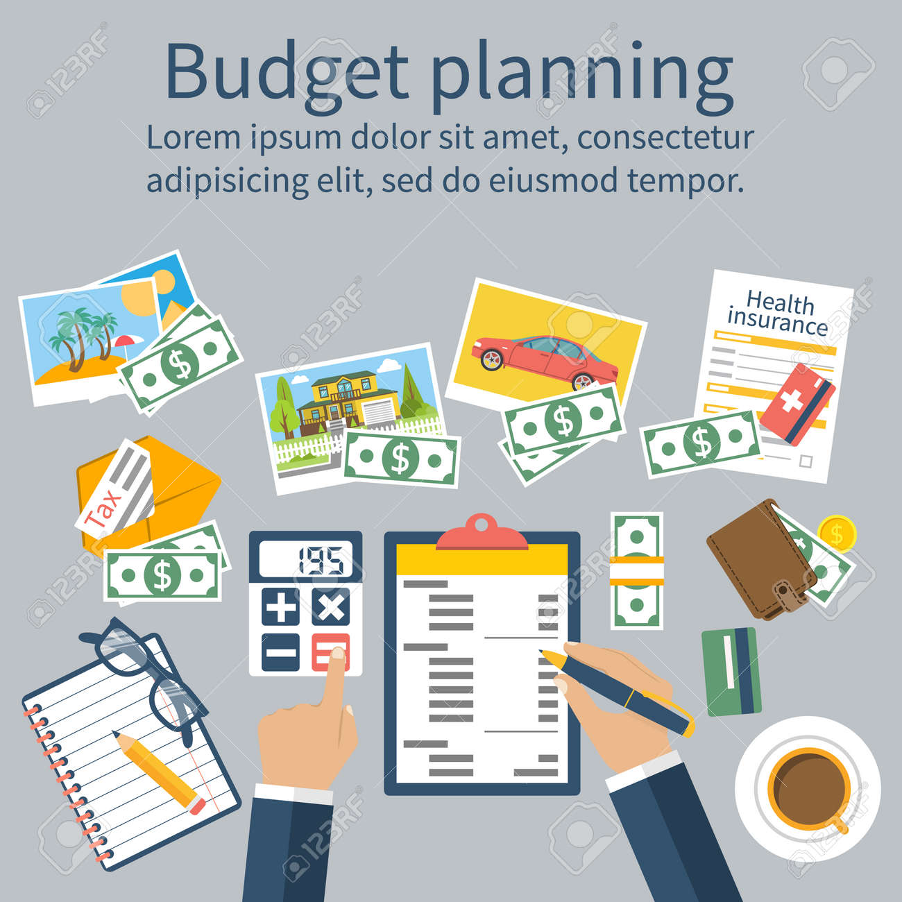 family budget planning financial accounting royalty free cliparts