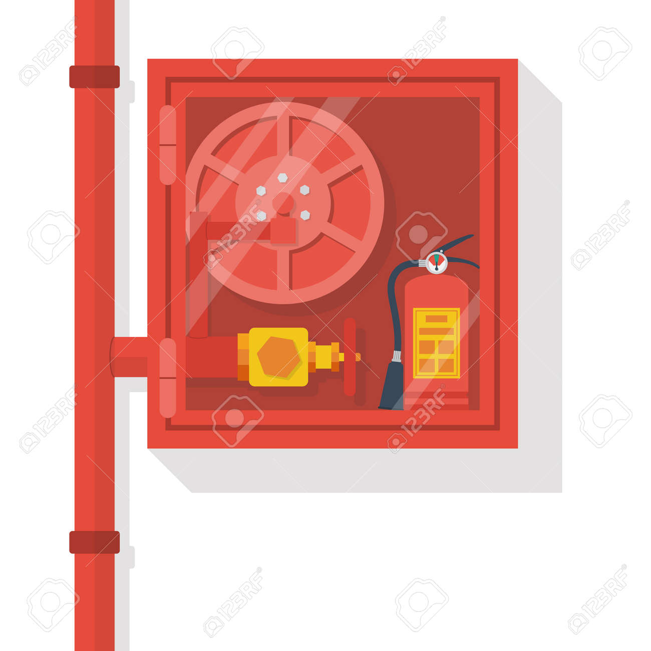 American Fire Hose And Cabinet Fire Hose Cabinet Isolate In White Background Royalty Free