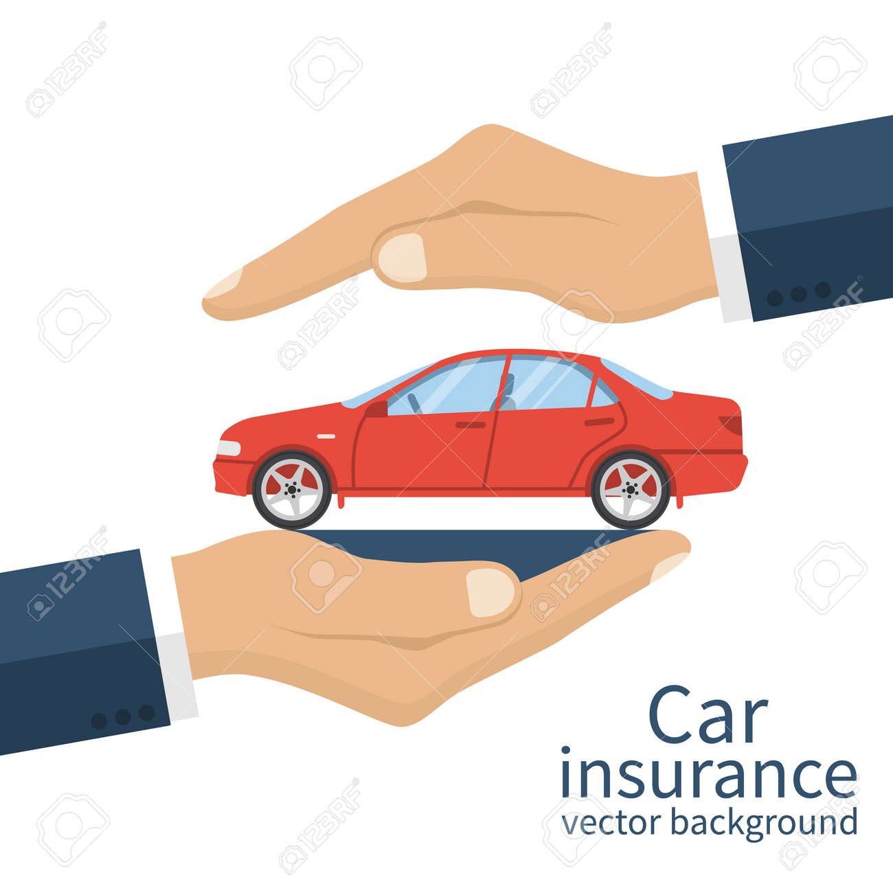 Hands Male Insurance Agent Protects Car. Concept Car Insurance ...