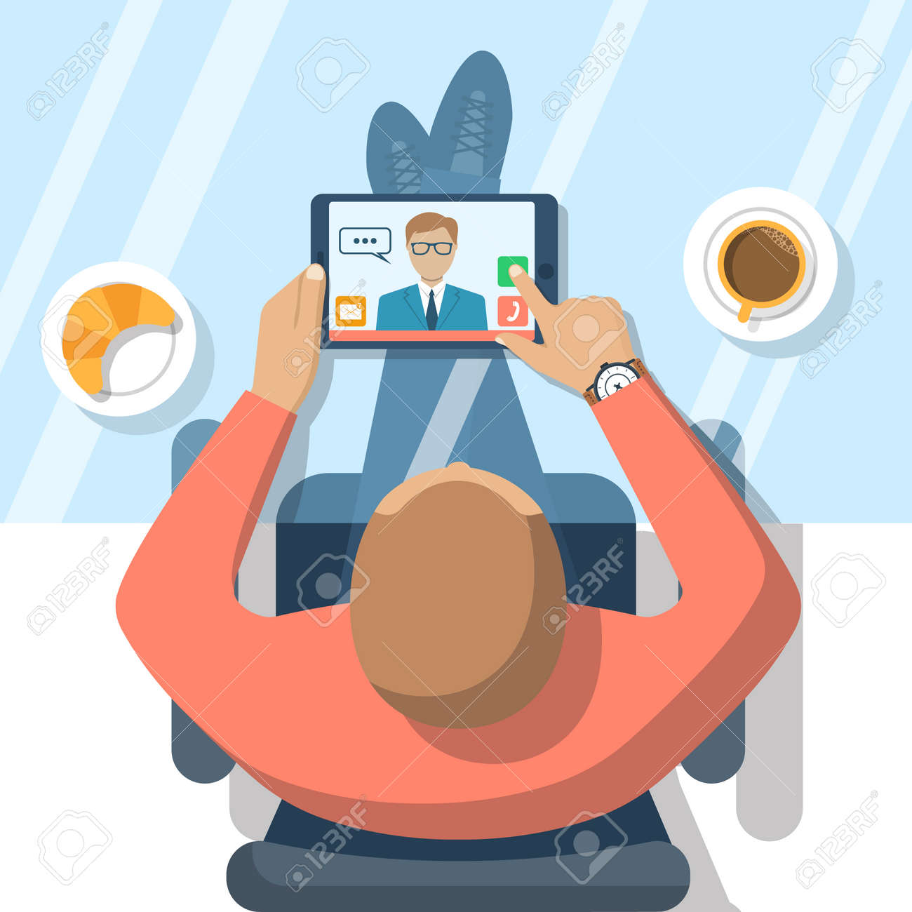 Video chat concept. Man sitting at glass table, communicates using video chat on tablet computer. Online chat. Vector illustration flat design. Video conference, meeting. Web chat. - 57972579