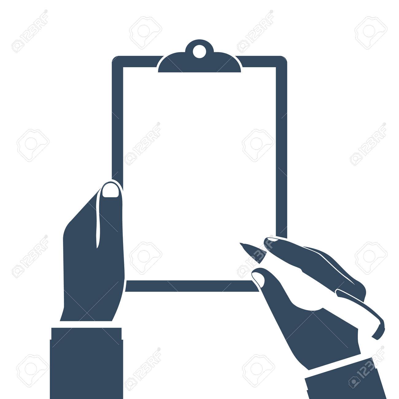 男は クリップボードを保持し 書き込みます 空の空 ペンを手に 書く