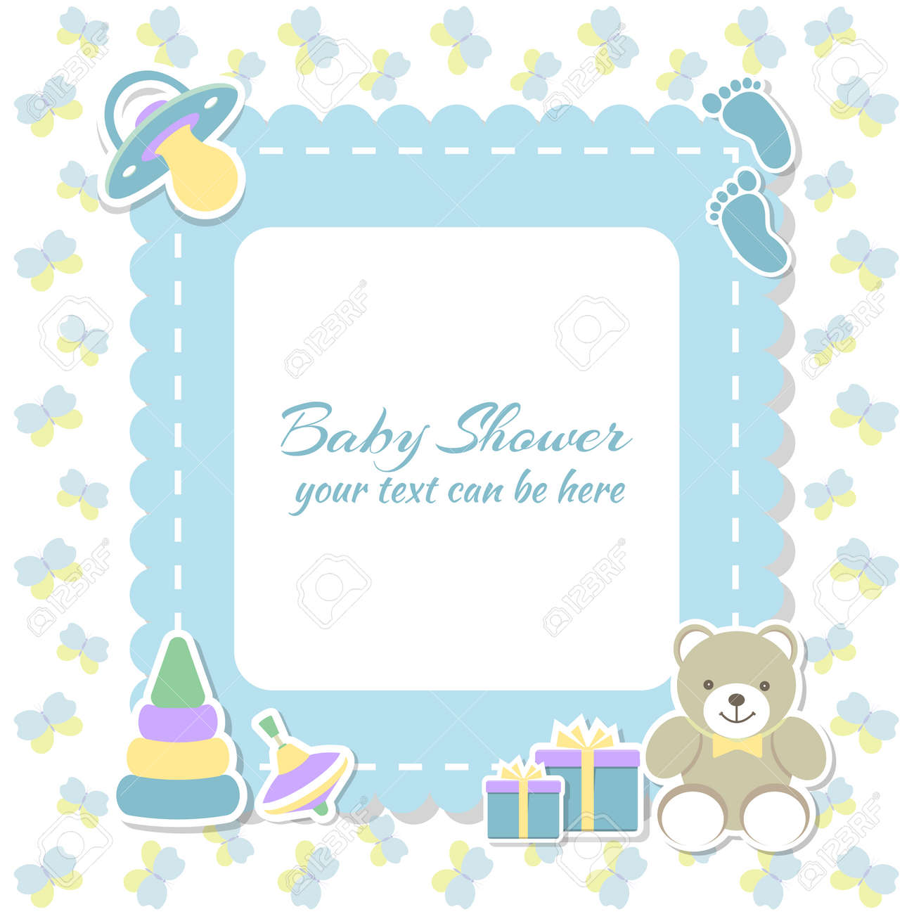 Baby Shower Boy Invitation Card Place For Text Greeting Cards