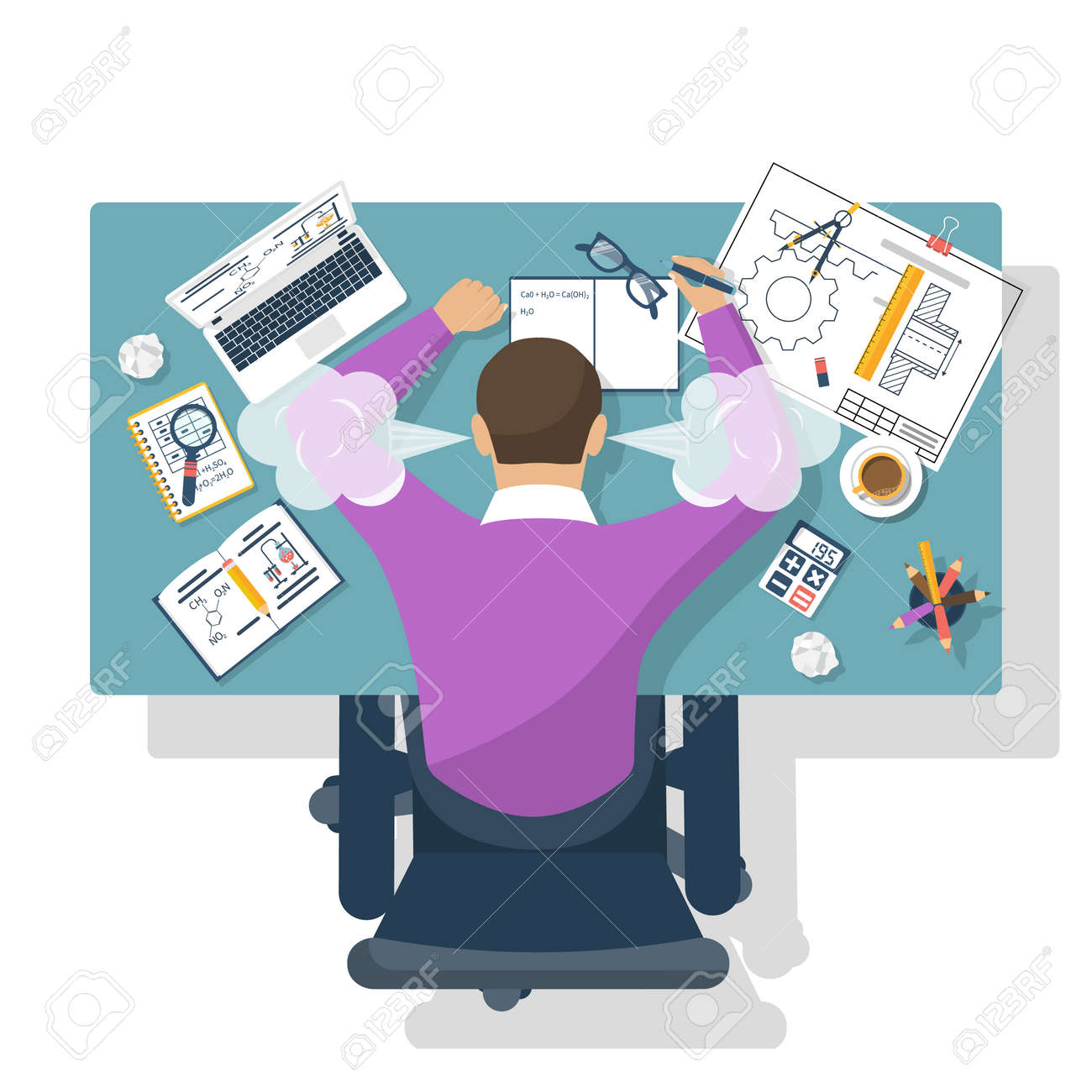 Student stress. Flat design style vector illustration. Tired student for training table. Exam preparation. - 58809668