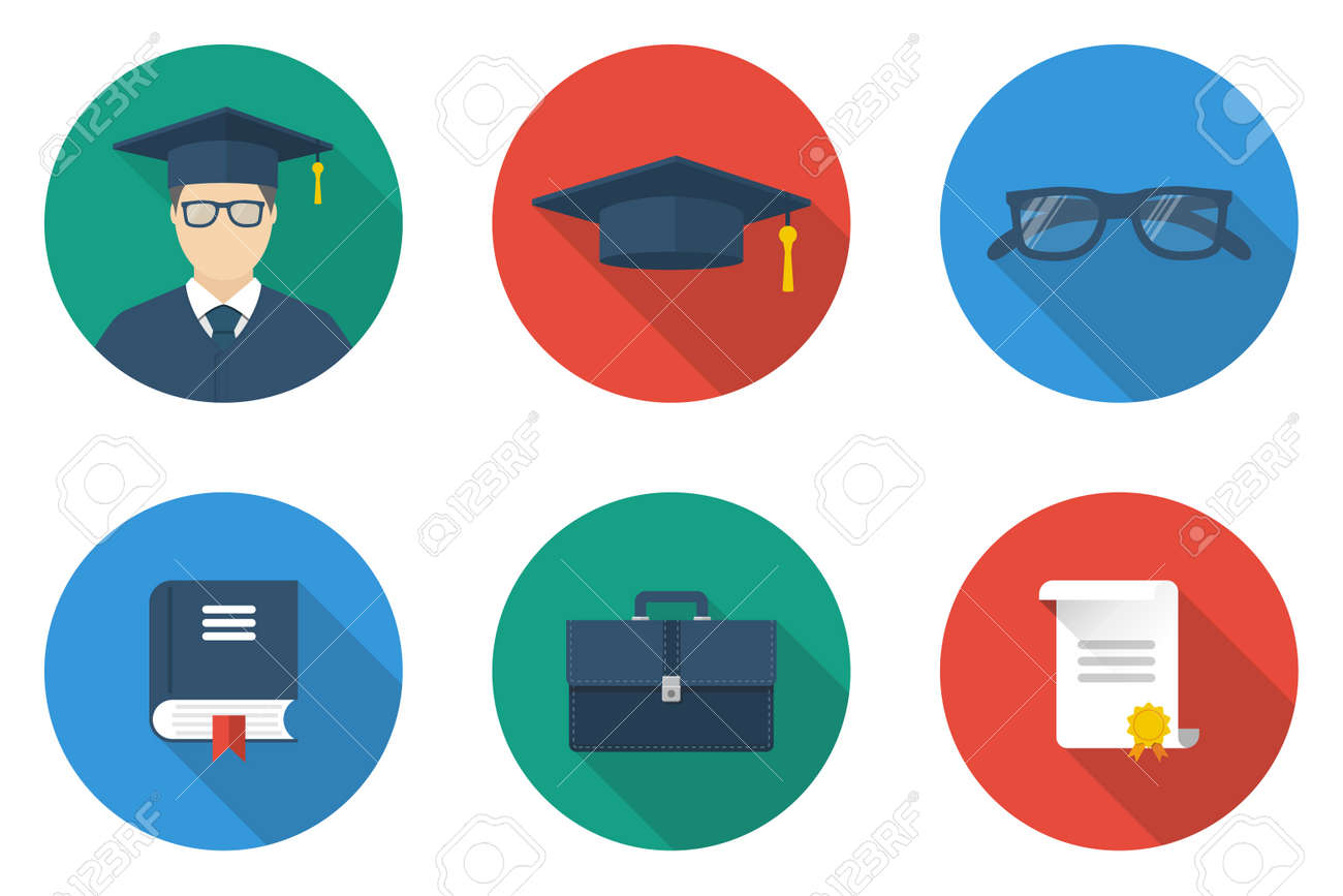 education icon flat design style student graduate with icons